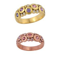 "501-179L - Alex Sepkus ""Candy"" ring with lavender mix of 6 sapphires (.50 ctw) and 9 small white diamonds (.10 ctw). Shown in 18k yellow gold (top picture) and 18k rose gold (bottom); also available in platinum and in other stone color combinations.  At DVVS Fine Jewelry"