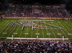 Western Michigan University Broncos  - the Broncos Marching Band during halftime of a night game