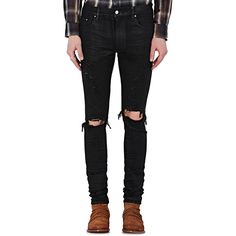 AMIRI Men's Thrasher Skinny Jeans ($750) ❤ liked on Polyvore featuring men's fashion, men's clothing, men's jeans, black, mens zipper jeans, mens destroyed jeans, mens ripped skinny jeans, mens torn jeans and mens super skinny ripped jeans