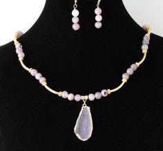Druzy Quartz Necklace  SetListing  103209189 by Ptcreationsjewelry, $35.00
