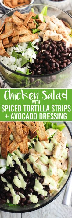 This chicken salad with spiced tortilla strips and avocado dressing is a flavorful and healthy lunch or dinner. Serve over your choice of greens, add ins, etc.