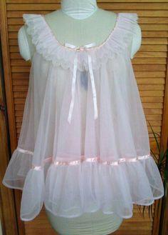 Vintage Lingerie by Tosca / Pink Babydoll Sheer Lingerie, Babydoll Lingerie, Vintage Lingerie, Babydoll Dress, Baby Doll Nighties, Nice Dresses, Flower Girl Dresses, Dress Up Outfits, Pink Outfits