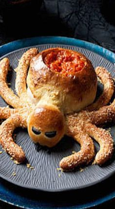 Saucy Spider with Hairy Leg Sticks - ready-made pizza dough makes this a quick and easy dip holder! ❊