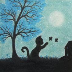#Black #Cat #Card Cat and #Butterflies Card #Children Card Cat