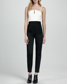 Arrow Two-Tone Jumpsuit by Alice + Olivia at Neiman Marcus.