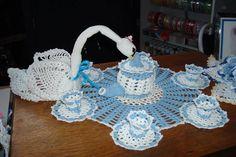 crocheted tea set and swan