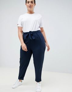 Find the best selection of ASOS DESIGN Curve Woven Peg Pants with Obi Tie. Shop today with free delivery and returns (Ts&Cs apply) with ASOS! Fat Girl Outfits, Curvy Outfits, Chic Outfits, Plus Size Outfits, Trendy Outfits, Fashion Outfits, Smart Casual Women, Smart Casual Outfit, Chubby Fashion