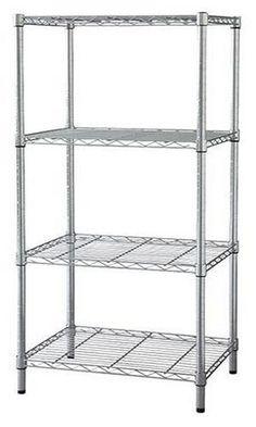 4 Tier Wire Shelf Adjustable Steel Metal Shelving Commercial Heavy ...