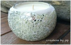 Clear Crackle Mosaic Soy Wax Candle Burns for 38 hours Available Cinnamon Spice, Cinnamon Vanilla, Frangipani, Lime & Coconut  www.creations-by-pip.myshopify.com