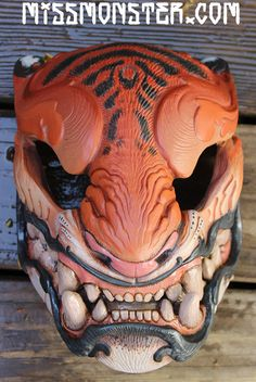 sculpted in wax clay, cast in urethane. Imprimente 3d, Japanese Tiger, Azteca Tattoo, Opera Mask, Ouroboros Tattoo, Cool Masks, Awesome Masks, Tiger Mask, Chinese Opera