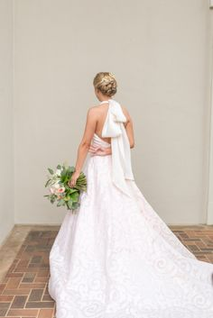 A Blush Dress + Giant Bow for this Chic Southern Bride Stunning blush ribbon wedding gown: Photography: Eliza Morrill Photography Read More on SMP: www. Country Wedding Dresses, Wedding Dresses Plus Size, Modest Wedding Dresses, Boho Wedding Dress, Wedding Gowns, Bridal Gowns, Blush Wedding Theme, Ribbon Wedding, Gowns 2017