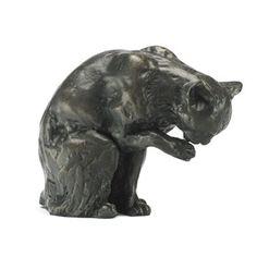 Sue Maclaurin Bronze Sculpture Cat Licking Paw