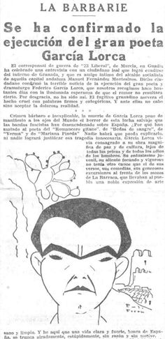 La muerte de García #Lorca en la prensa de la época