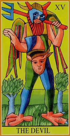 XV. The Devil - Dame Fortune's Wheel Tarot by Paul Huson.