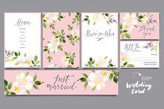 Watercolor Flowers Card Set by Karma on @GraphicZN #VECTOR #VECTORS #VECTOR GRAPHICS #FLOWERS #CARD #WEDDING #PATTERN
