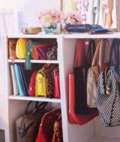 I need to display my clutches.... they are so colorful. Good idea!