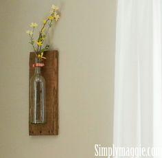 DIY wine bottle pallet board.  www.simplymaggie.com