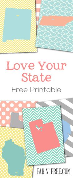 Free Printable States - Perfect for Project Life, Journaling, Scrapbooking, Wall Art, etc!  These would be really cute in a travel scrapbook marking all the states that you have traveled to.