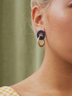 Isla Earrings in Midnight Blue — Wolf & Moon Diy Earrings Polymer Clay, Polymer Clay Charms, Earrings Handmade, Handmade Jewelry Designs, Bijoux Diy, Ceramic Jewelry, Biscuit, Creations, Jewelry Making