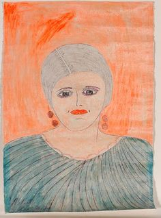 "Lee Godie. Woman's Portait With Orange Background. Signed. Not dated. Paint and ink on unstretched canvas. Good condition. 18"" w x 26""h. Slotin Folk Art Auction April 20, 2013"