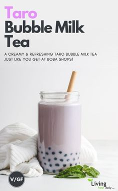 A creamy and refreshing taro bubble milk tea recipe just like the ones at boba shops! Perfect for a hot summer day. How to make a vegan taro bubble tea with taro powder and tapioca pearls Taro Smoothie, Detox Smoothie Recipes, Weight Loss Smoothie Recipes, Boba Smoothie, Taro Bubble Tea, Bubble Milk Tea, Boba Tea Recipe, Taro Milk Tea Recipe, Healthy Dieting