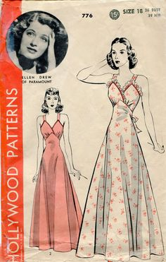 1940s Lingerie Pattern Hollywood 776 1940s Vintage Nightgown Pattern with Movie Star Glamour. $35.00, via Etsy.