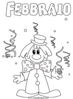 Mesi dell'anno da colorare – Febbraio - TuttoDisegni.com Activities For Girls, Crafts For Kids, Carnival Crafts, All Kids, Preschool Worksheets, Cover Pages, Winter Christmas, Coloring Books, Kindergarten