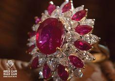 Diamond & Ruby Ring by Shri Ram Hari Ram Jewellers Red Jewelry, Bridal Jewelry, Gemstone Jewelry, Diamond Jewelry, Fine Jewelry, Ruby Diamond Rings, Ruby Rings, Fantasy Jewelry, Belleza Natural