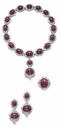 A SET OF RUBY AND DIAMOND JEWELLERY.  Comprising a necklace designed as a series of slightly graduated cabochon ruby and baguette-cut diamond clusters, with brilliant-cut diamond collet detail, to the detachable similar-set pendant, a bracelet, a pair of ear pendants and a ring en suite, mounted in gold, necklace 42.5 cm, bracelet 18.5 cm, earrings 5.8 cm [Bracelet pinned separately]