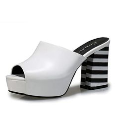 No66 Town Womens Fashion Peeptoe Leather Platforms Sandals Size 85 White * Want to know more, click on the image.