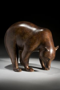 n his bear bronzes, of which this sculpture is a recent example, the artist focuses on the square compact form and the way the limbs form bridges through which light flows. It is an unsentimental and objective approach to a subject which is often sentimentalized.An edition of twelve.