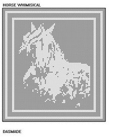 HORSE WHIMSICAL Filet Pattern #142    This is a beautiful filet crochet pattern of a HORSE WHIMSICAL filet, by me, DASMADE   I have been crocheting for
