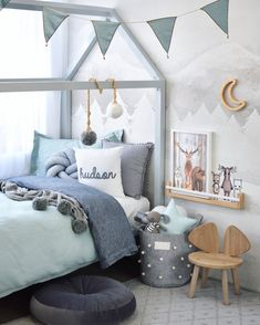 Brought to you by the queen of interior styling How gorgeous is Hudson's new room? So honoured to have our grey Pom Pom Blanket featured in this amazing room! Duvet Sets, Duvet Cover Sets, Kids Bedroom, Bedroom Decor, Room Kids, Raised House, New Beds, House Beds, New Room