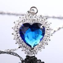 Heart Cut Blue Sapphire WGP Pendant Necklace