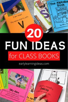 Class books are often the most engaging books in a preschool or kindergarten classroom reading corner. Click to find 20 fun ideas and learn how to make DIY class books for kids at school & home. From Pete the cat, brown bear brown bear, chicka chicka boom boom, and MORE. Use these fun books to teach letters, rhyming, beginning sounds, and other literacy concepts. This is a fun way to build a classroom community at the beginning of the year during an all about me unit and beyond. Circle Time Activities, Language Activities, Literacy Activities, Preschool Books, Kindergarten Classroom, Reading Corner Classroom, Class Books, Phonemic Awareness Activities, Learning Sight Words