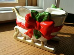 Vintage Christmas Fitz and Floyd Sleigh Ceramic Planter Red Ribbon