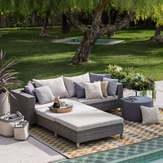 Belham Living Anatara All Weather Wicker Sofa Sectional Set - Conversation Patio Sets at Hayneedle Resin Patio Furniture, Backyard Furniture, Wicker Furniture, Outdoor Furniture Sets, Outdoor Decor, Rustic Furniture, Antique Furniture, Luxury Furniture, Industrial Furniture