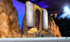 Large-scale Ten Commandments carved in foam for a church stage production