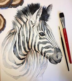 Buy 'Baby Giraffe Watercolor Painting, Nursery Art' by Olga Shvartsur as a T-. Zebra Drawing, Zebra Painting, Zebra Art, Painting Art, Animal Paintings, Animal Drawings, Art Drawings, Horse Drawings, Watercolor Animals