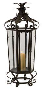 Tuscan Old World Tall Black Iron Lantern Candleholder