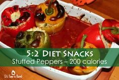 A hint of paprika and mature cheese gives these stuffed peppers a moreish flavour that's great for a quick 5:2 diet lunch or a new twist to your warm 5:2 diet snacks recipes.