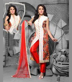 Off White Art Raw Silk Readymade Pakistani Style Suit 70345