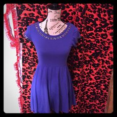 Sz Small Purple Material Girl Dress Mesh Back.