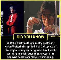 Karen watterhahn , the chemist whose poisoning death changed safety standards! Some Amazing Facts, Interesting Facts About World, Unbelievable Facts, Funny Science Jokes, Funny School Jokes, Gernal Knowledge, General Knowledge Facts, True Facts, Weird Facts