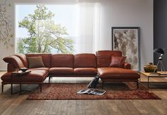 Sofa sherry 24600 in Leder Z ein gewachstes Anilin-Saddle-Leder, in der… Sofa sherry 24600 in leather Z a waxed aniline saddle leather, in the color 50 Cognac Basement Living Rooms, Basement Furniture, Home Decor Furniture, Living Room Sofa, Furniture Design, Couch Design, Canapé Design, Leather Sectional Sofas, Leather Sofa