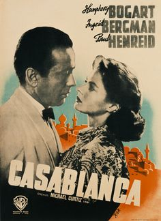 A poster for Michael Curtiz's 1942 drama 'Casablanca' starring Humphrey Bogart and Ingrid Bergman. Get premium, high resolution news photos at Getty Images Ingrid Bergman, Humphrey Bogart, 1940s Movies, Old Movies, Vintage Movies, Classic Movie Posters, Film Posters, Retro Posters, Cinema Posters