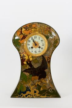 Rozenburg Pottery Holland, W.P. Hartgring Art Nouveau Mantle Clock, 1904 | From a unique collection of antique and modern clocks at https://www.1stdibs.com/furniture/decorative-objects/clocks/