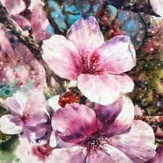 Watercolor painting by Chinese artist Ching-Che Lin Watercolor Landscape, Watercolor Print, Watercolor Flowers, Watercolor Paintings, Watercolours, Cherry Flower, Blossom Flower, Flower Art, Botanical Flowers