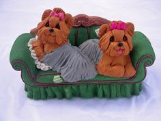 Yorkie couch by claykeepsakes,