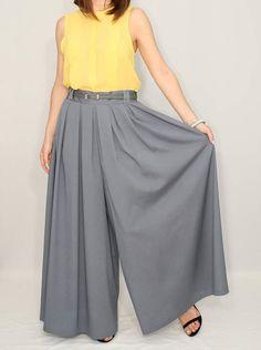 Women Pants fashion skirt pants Chiffon Pants Dark by KSclothing